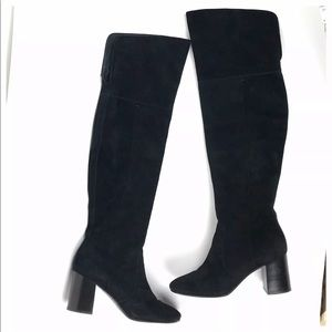 Frye Black Suede Over the Knee Boots Size 7